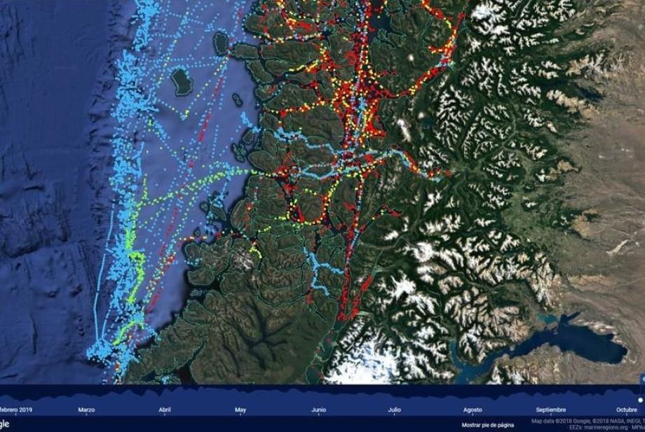 Imagen satelital obtenida por Sernapesca.