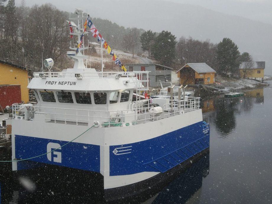 Arbeidsjernet «Frøy Neptun» er overlevert til Frøy Akvaservice. Foto: Sletta Verft