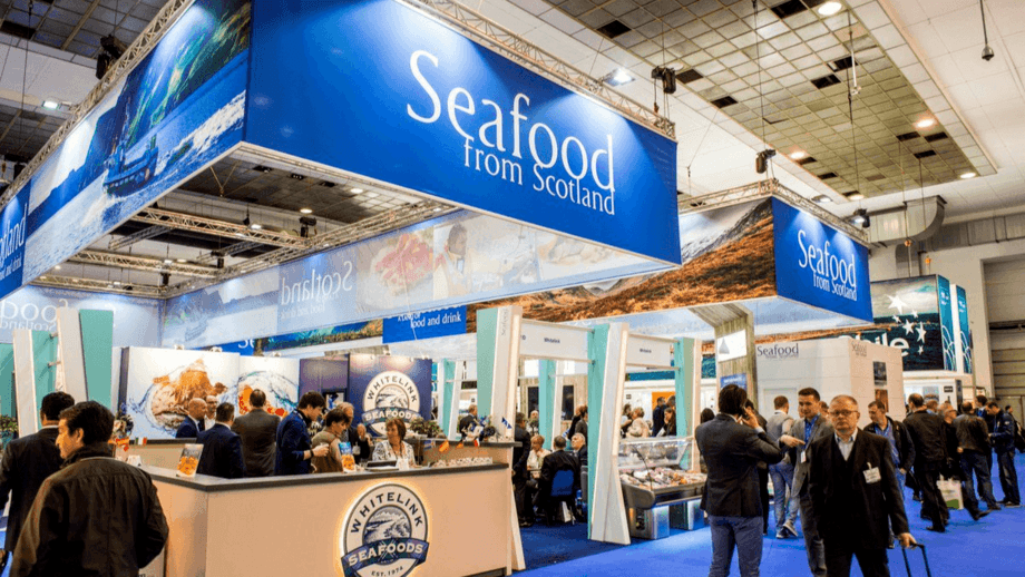 The Seafood from Scotland pavilion at the world's biggest seafood trade show, Seafood Expo Global. Seafood from Scotland is a national brand managed and run by Seafood Scotland.