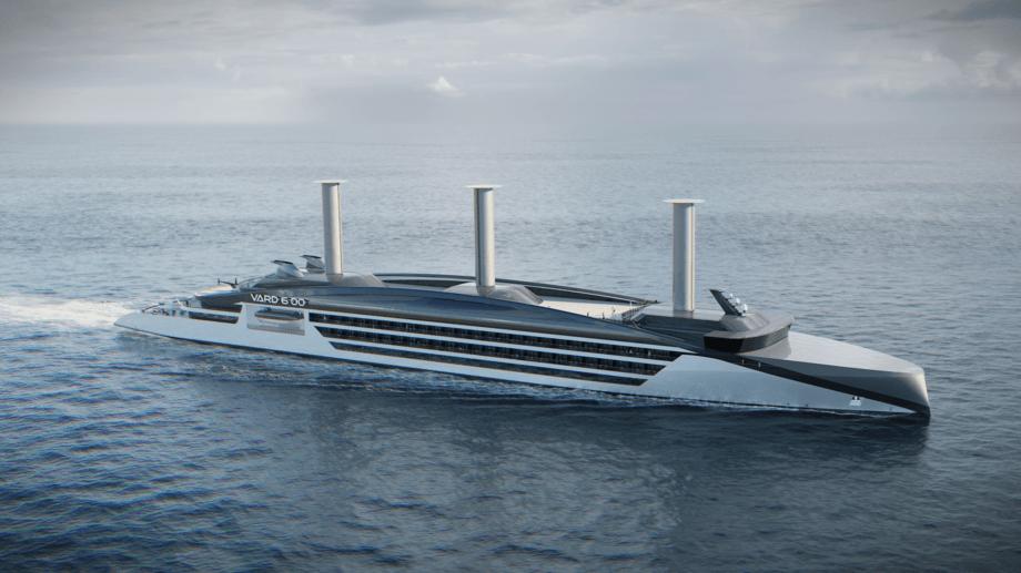 Vard designer cruiseskip med vindkraft. Foto: Vard.