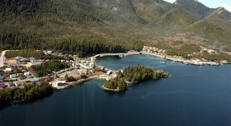 Aerial view of the community of Klemtu located on Swindle Island, BC. Image: Doug Neasloss.