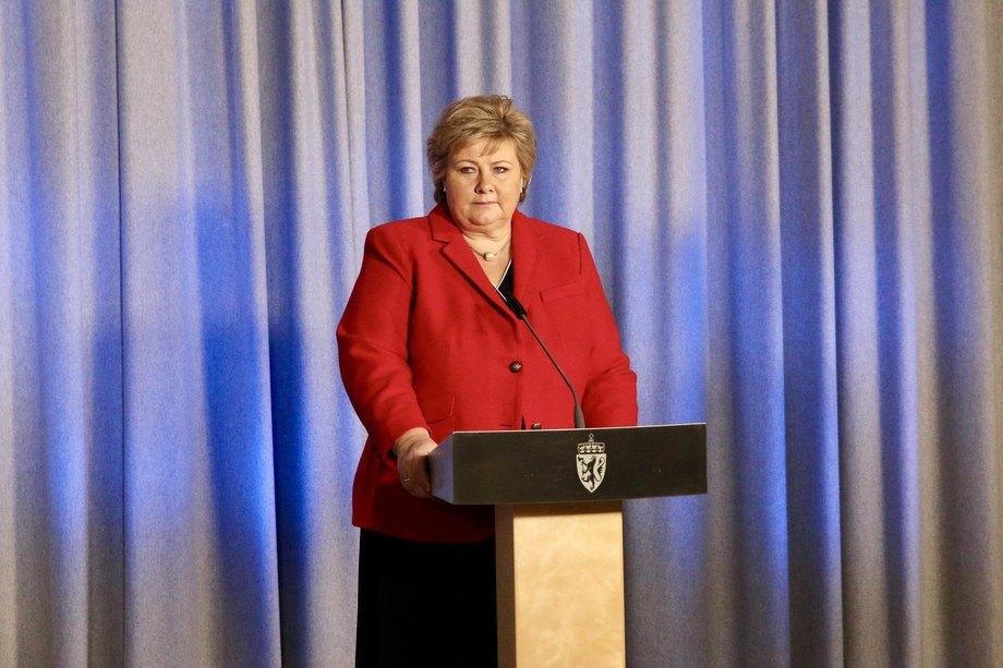 Statminister Erna Solberg talte til Høyres landsmøte fredag Arkivfoto: Eirin Larsen/SMK