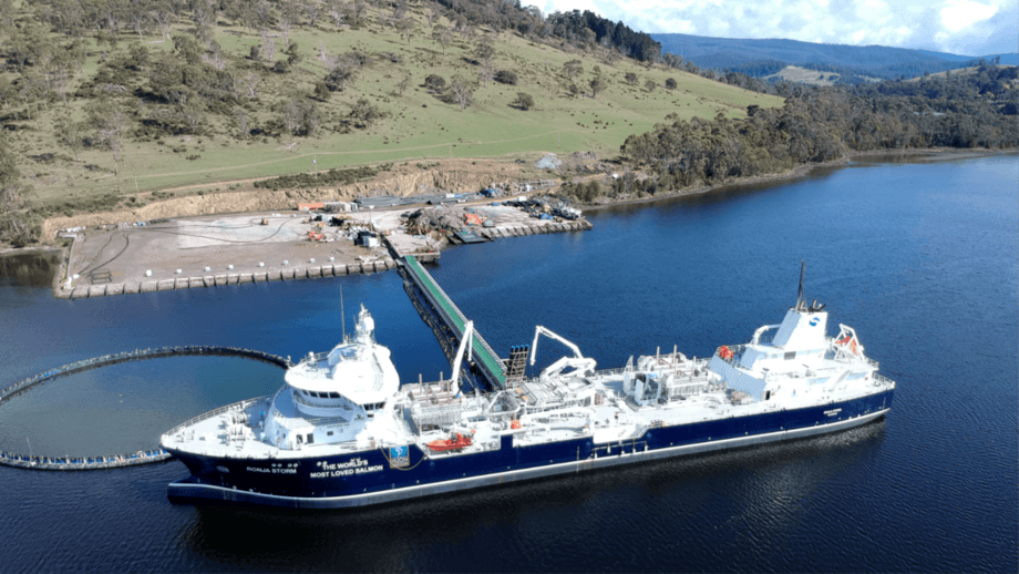 The world's biggest wellboat, the Ronja Storm, which is on a 10-year contract with Huon, moored at the company's Whale Point nursery. The company has invested heavily in improving biology and capacity. Photo: Huon.