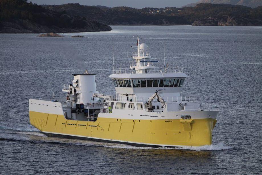 El wellboat Kirsti H, que pasó a llamarse Inter Fiord, para operar en Mowi Chile. Foto: Intership.