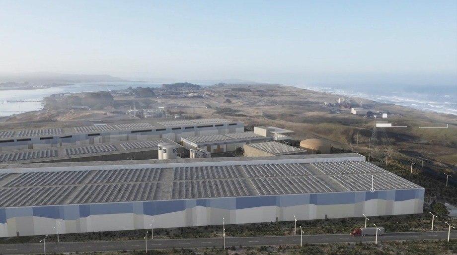 Una representación de cómo podría verse la instalación RAS en California. Foto: Nordic Aquafarms.