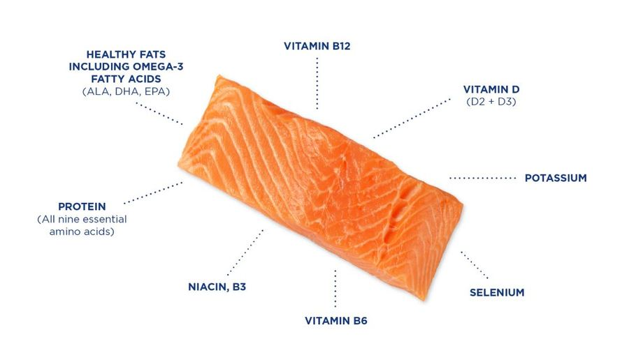 The GSI report includes this illustration and tables about the health benefits and nutritional profile of salmon.
