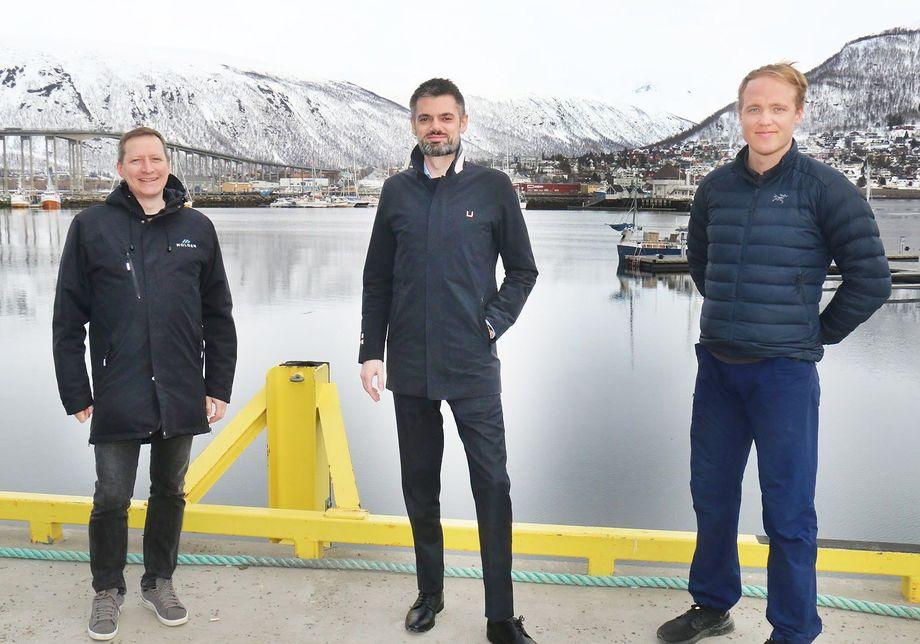 Fra venstre: Jon Eirik Jakobsen, Thorstein Klingenberg og Amund Dahl Vaagland i Moloen Media as. Foto: Leif-Morten Olaussen, Nordlys