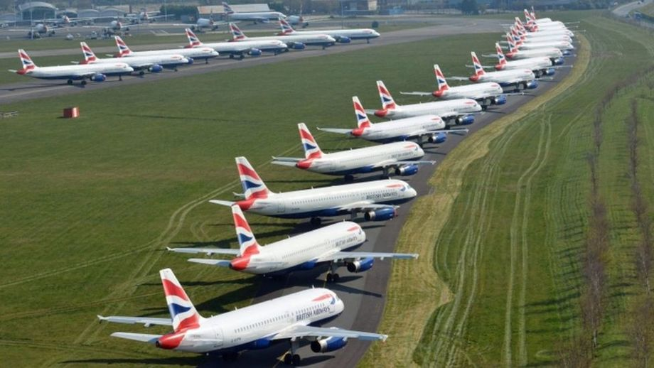 Grounded passenger jets in England. The huge reduction in flights has hampered salmon exports. Photo: National Police Air Service.