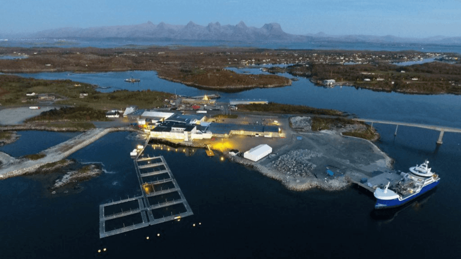 Mowi's processing plant at Herøy, Helgeland will use reduce transport costs and its carbon footprint by using Skaginn's cooling system. Photo: Mowi.