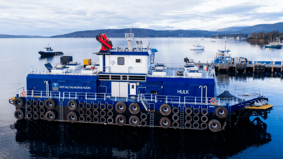 The Hulk is Huon's second 600-tonne feed barge and will be used in Storm Bay. Photos: Huon Aquaculture.