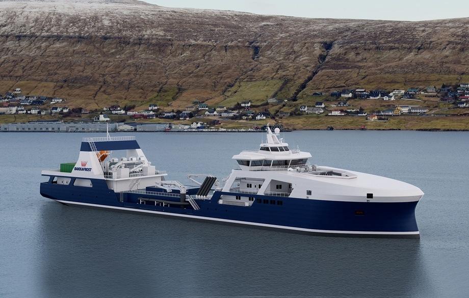 Den nye brønnbåten skal etter planen overleveres i 2022. Foto: Bakkafrost/Knud E. Hansen skipsdesign.