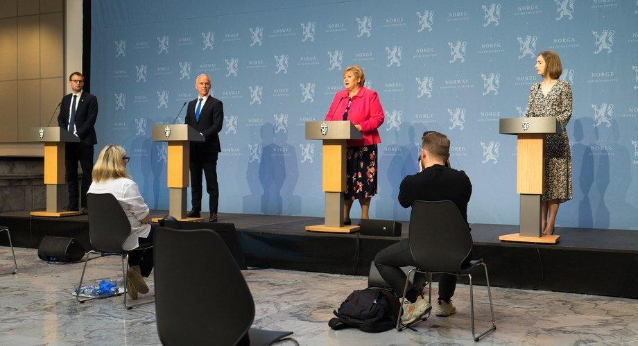 egjeringen legger i dag frem økonomiske tiltak som skal styrke norske bedrifter og arbeidsplasser, og bidra til grønn omstilling. På denne måten skal Norge komme ut av koronakrisen. Foto: Arvid Samland/Statsministerens kontor