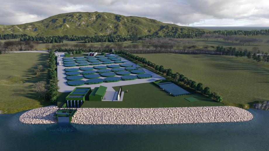 Así proyectan que se verá construida la Piscicultura Antilhue. Imagen: Cedida.