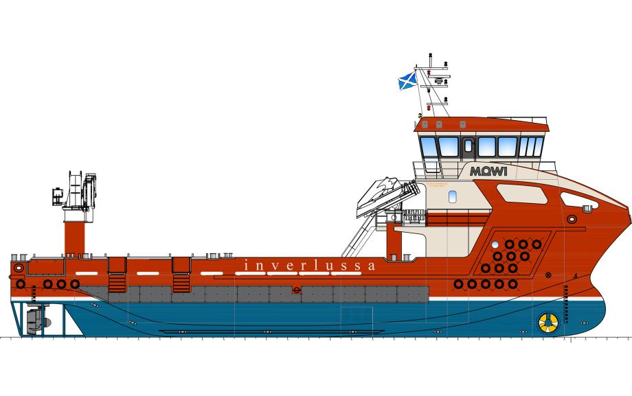 Inverlussas nye fartøy vil være det 15. skipet i deres flåte og være til nå det største. Illustrasjon: Inverlussa Marine Services.