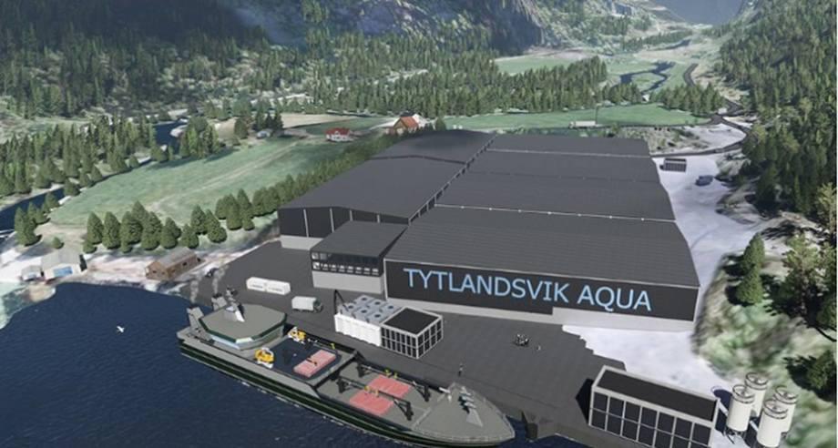 Tytlandsvik Aqua, somligg i Hjelmeland kommune i Rogaland, har i dag, skal bli bygt gjennom 3 byggetrinn. No skal ein i gong med det andre. Illustrasjon: Tylandsvik Aqua.