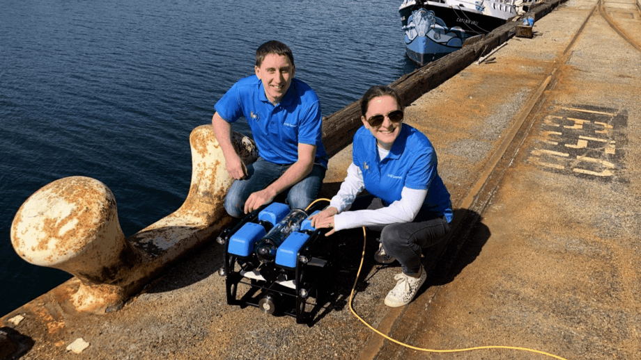 ANB's co-founders, chief executive Nathan Lawrence and chief operating officer Kay McGuinness, with an ROV fitted with one of the company's pH sensors. Photo: ANB Sensors.