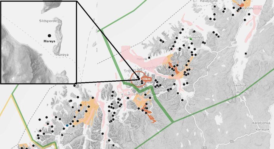 Det er mistanke om ILA ved oppdrettanlegg tilhørende Cermaq Norway. Illustrasjon: Barentswatch.