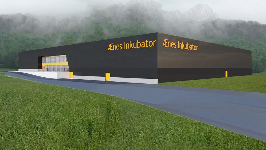Illustrasjon av settefiskanlegget Ænes Inkubator, som Norconsult skal prosjektere. Illustrasjon: Norconsult