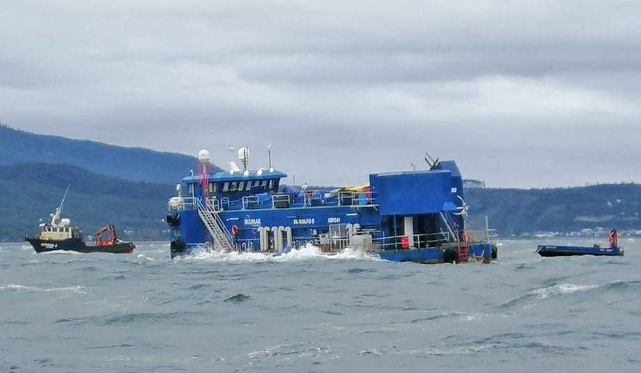 There are 2,900 tonnes of dead salmon nearly 1,000 feet under the waves at Blumar's Caicura site. Photo: SMA.