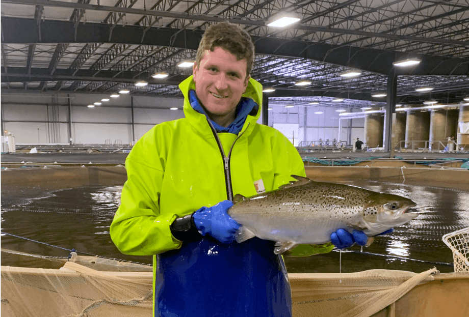 AquaBounty's Peter Boyer at the company's Indiana RAS farm. Photo: AquaBounty