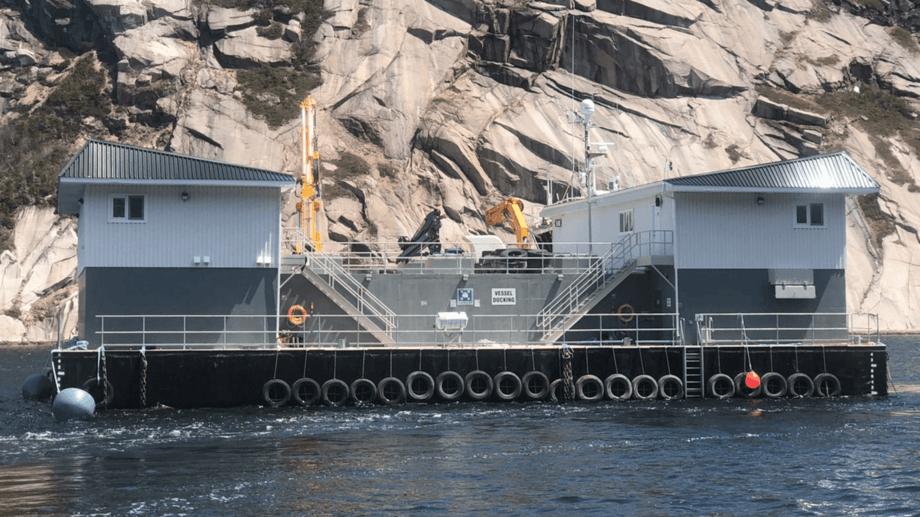 The Gael Force SeaFarmBase on site in Newfoundland. Photo: Mowi.