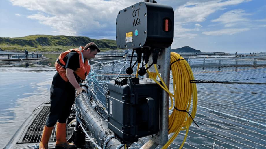 An ADD control unit on the side of a pen at a Scottish salmon farm. Photo: OTAQ / SSPO.