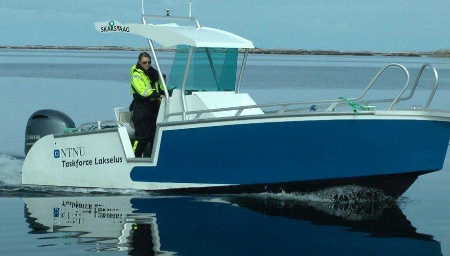 Lone Jevne har tatt en doktorgrad på tiltak som kan forsinke angrep av lakselus i oppdrettsanlegg. Her er hun i en båt fra Taskforce Lakselus ved NTNU og Blått kompetansesenter på Frøya i Trøndelag. Foto: John Birger Stav