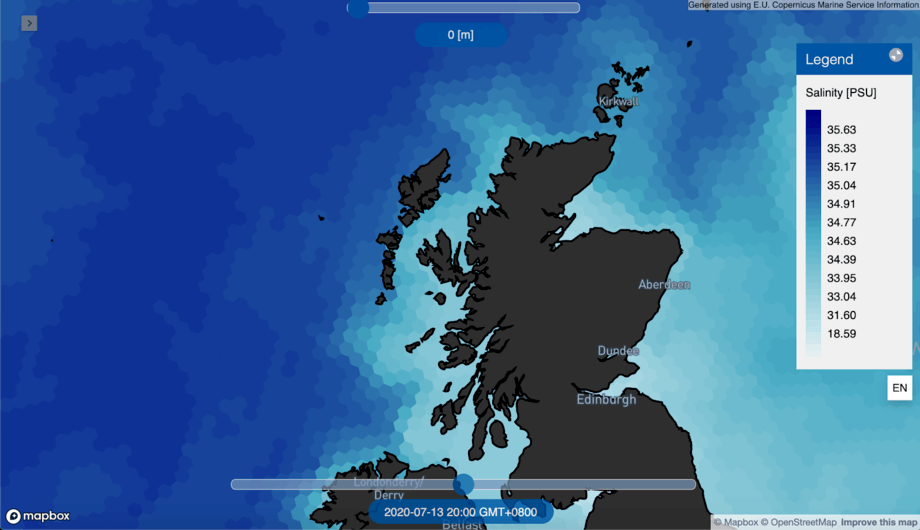 A map showing salinity in Scottish waters. All images: Umitron.