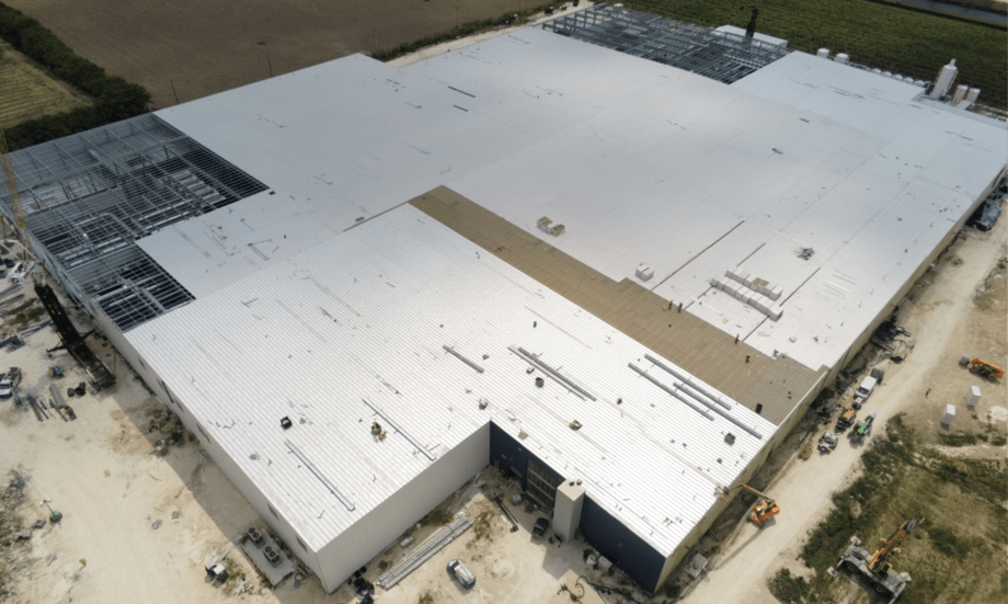 An archive photo of Atlantic Sapphire's Bluehouse recirculating aquaculture system facility at Homestead, Miami, Florida. The plant is not yet fully completed, limiting the company's options to move fish. Photo: Atlantic Sapphire.