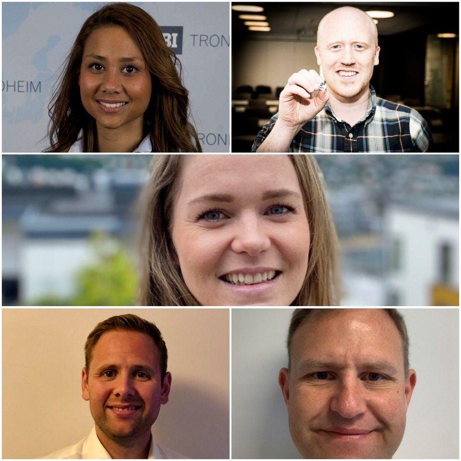 Fem nye ansatte i Grieg Seafood. Foto: Grieg Seafood