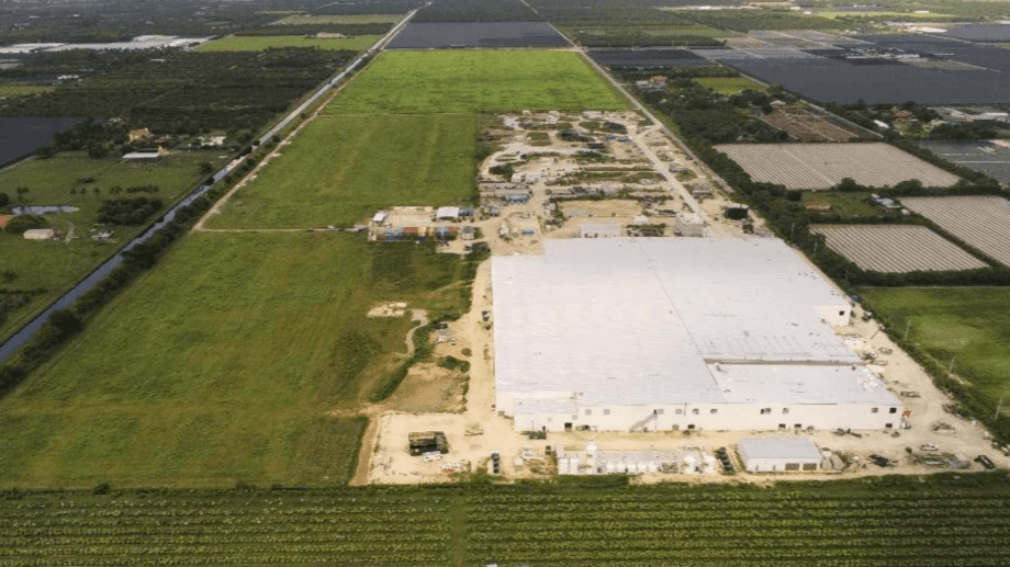 A recent photo of the phase 1 Bluehouse in Miami, Florida. The facility will be completed in Q4. Photo: Atlantic Sapphire.