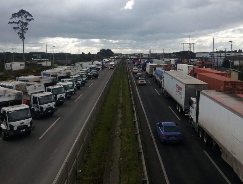 Paro de camioneros en Puerto Montt. Foto: Cedida.