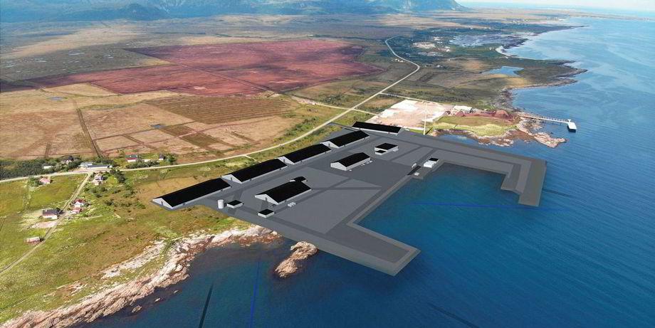 I det landbaserte anlegget til Andfjord Salmon skal det produseres 10 000 tonn laks. Illustrasjon: Andfjord Salmon