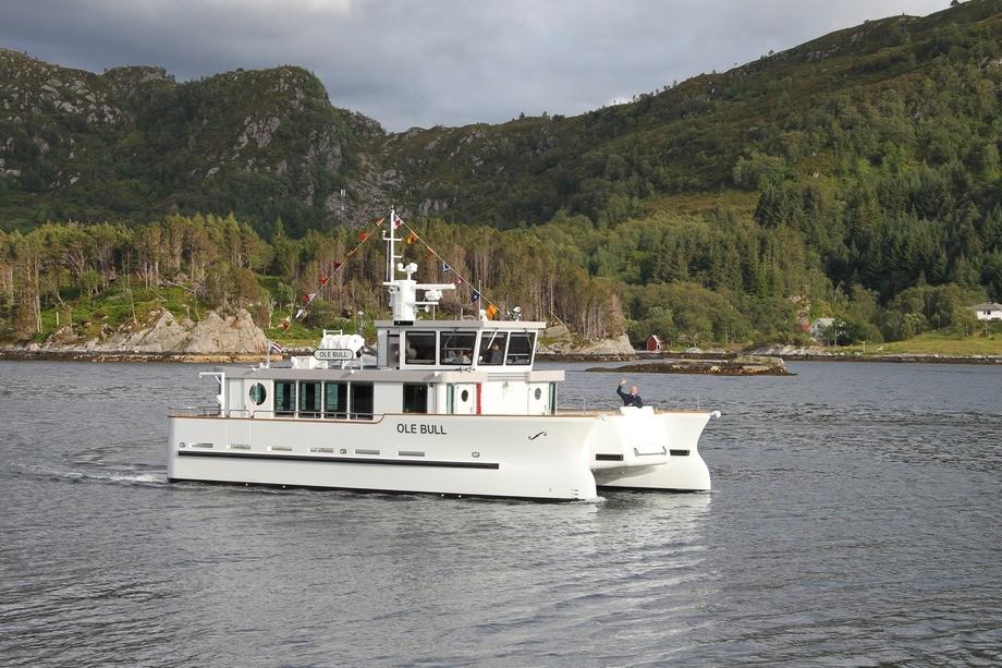 Den nye «Ole Bull» er levert, men vil ikke bli satt i drift før i 2021. Foto: Atle Ellefsen/Easyform