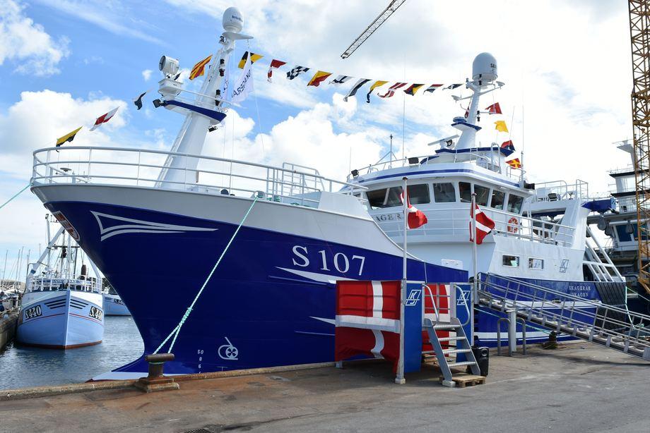 «Skagerak» ble døpt ved verftet 25. juli 2020. Foto: Karstensens Skibsværft