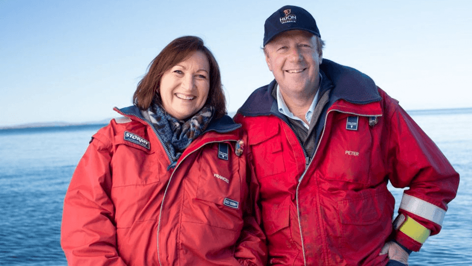 Huon founders Frances and Peter Bender have overseen big improvements in fish biology and harvest volume but their business has struggled with low spot prices. Photo: Huon Aquaculture.