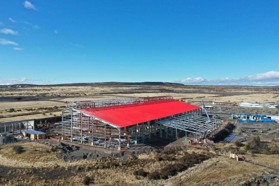 20% de avance presentan los trabajos de construcción de la nueva planta de procesamiento para salmónidos en la región de Magallanes. Foto: Australis Seafoods.
