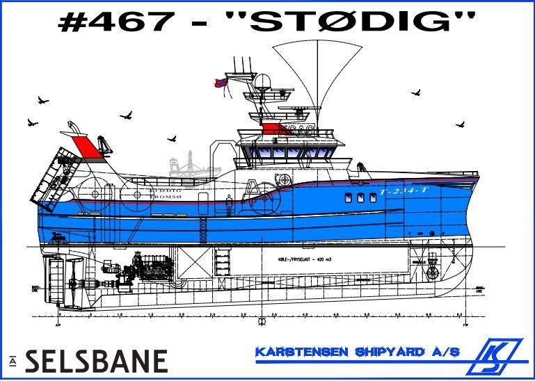 Den nye «Stødig» blir i underkant av 40 meter lang, og skal leveres i 2022. Tegning: Karstensens Skibsværft