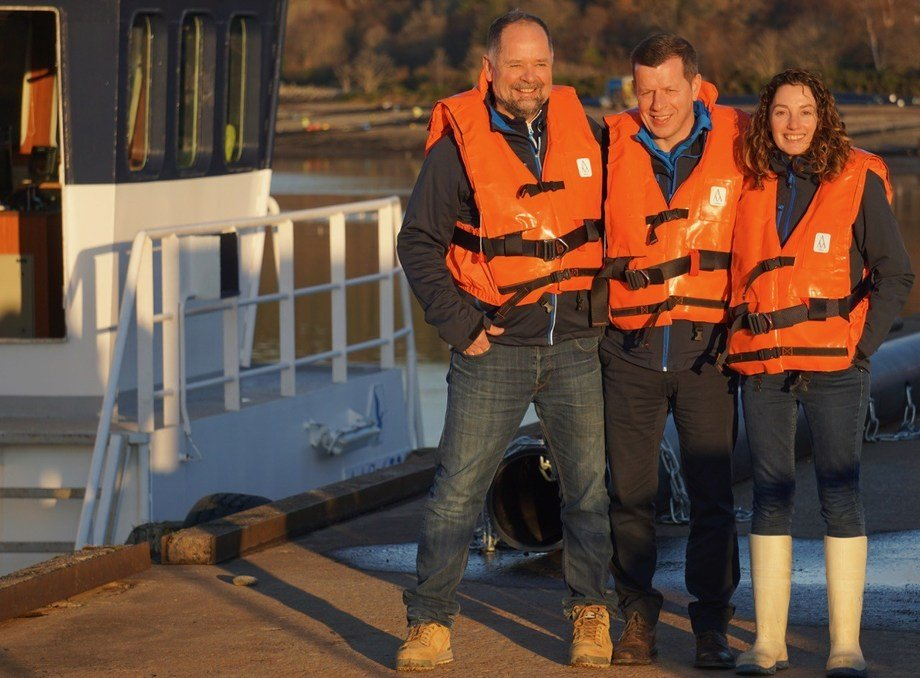 Finfish Farmer of the Year Noelia Rodriguez with Scottish Sea Farms managing director Jim Gallagher (centre) and freshwater manager Pål Tangvik. Photo: SSF