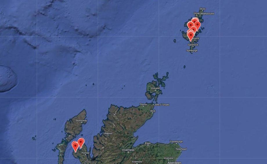 Det langt i fra Shetland i nord, der Grieg Seafood Shetland har sin hovedaktivitet, til Isle of Sky i de indre Hebridene noe lengre sør. Illustrasjon: Grieg Seafood.