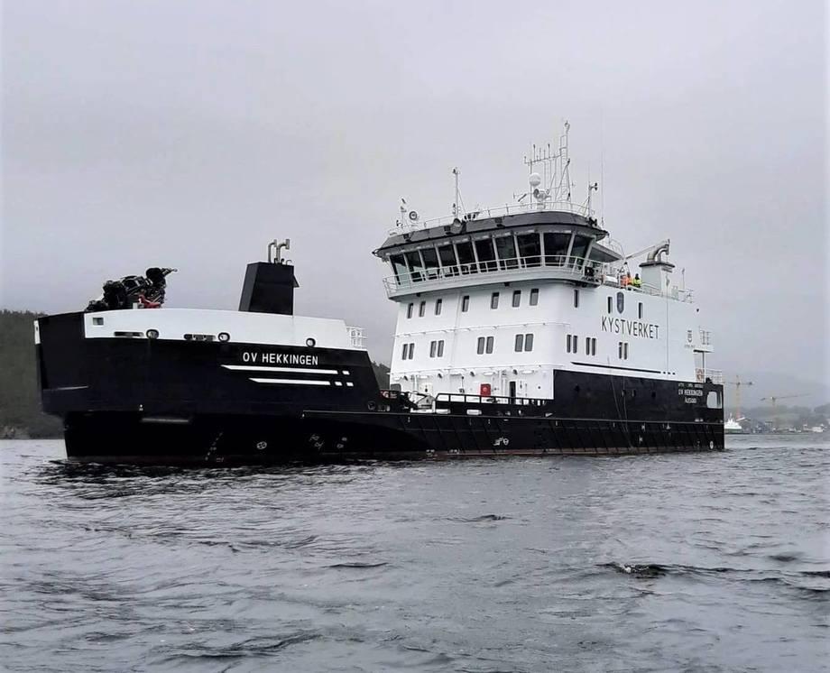 Nylig var det testtur for Kystverkets nyeste flåtetilvekst, hybridfartøyet OV «Hekkingen». Dette blir nok en grønt flaggskip for Kystverket. (Foto: Gunnar Humblen/Kystverket)