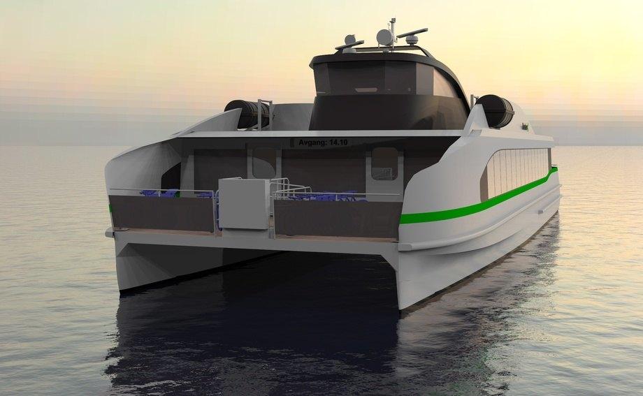 Fjellstrand og Kolumbus har signert kontrakt på bygging av ein full-elektrisk hurtigbåt. Illustrasjon: Fjellstrand