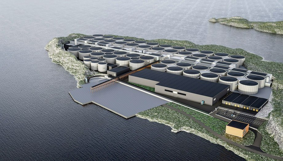 An illustration of the Salmon Evolution plant at Indre Harøy, currently under construction. Image: Salmon Evolution.
