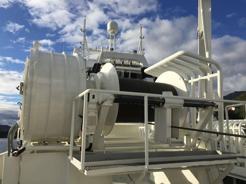 Det 86 meter lange fartøyet blir den trettende hekktråleren som hittil er utstyrt med dette nye vinsjesystemet som er utviklet på Sunnmøre. Foto: Kongsberg Maritime