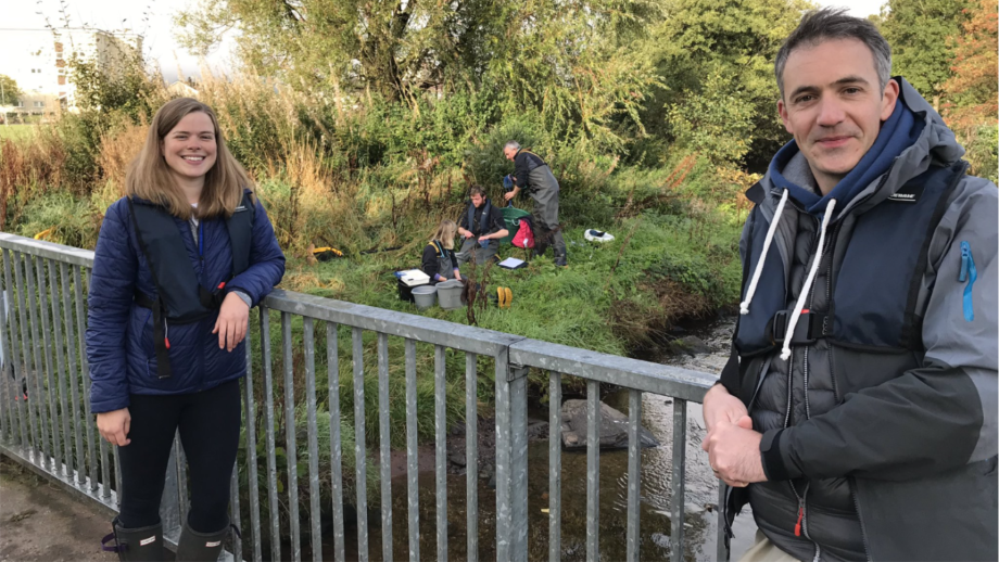FMS aquaculture interactions manager, Polly Burns, and journalist Joe Crowley during filming of the report for tonight's The One Show (BBC 2, 7pm). Photo: FMS / Twitter.