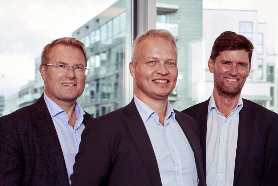 Ole Jacob Myre, Jørgen Horntvedt og Lars Langsrud i det nye selskapet Alpha Corporate Finance. Foto: ACF.
