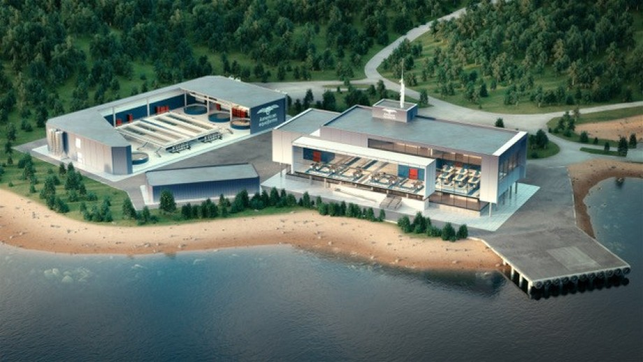 A visualisation of the American Aquafarms hatchery and processing facility. Image: American Aquafarms.