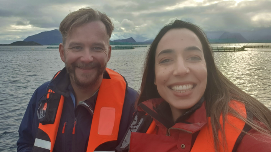 Alf-Gøran Knutsen and Marwa Mechlaoui on site. Photo: Kvarøy Arctic.