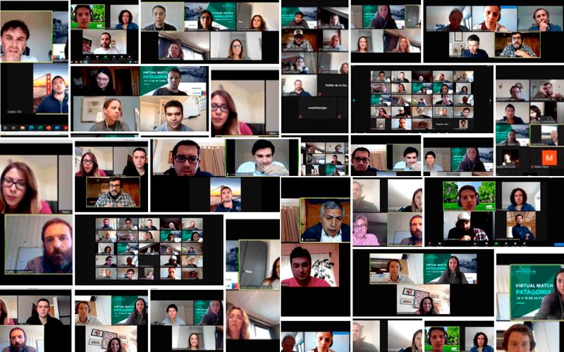 Collage de participantes de encuentro virtual para captar fondos de inversión. Imagen: Endeavor Chile.