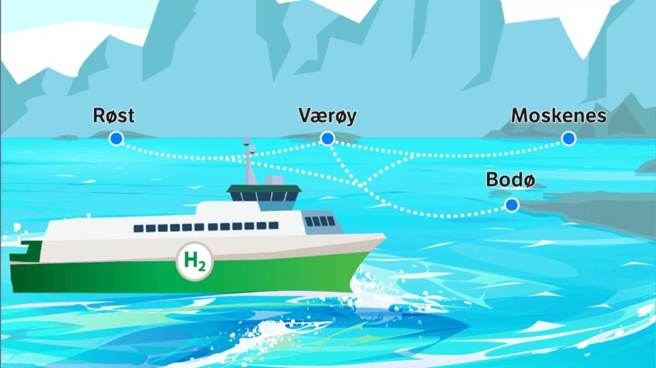 Fra neste anbudsperiode er det hydrogenferger som skal trafikkere strekningen mellom Bodø og Lofoten. Illustrasjon: Statens Vegvesen